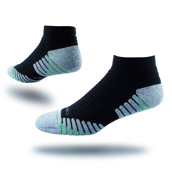 Support Socks: Interpod's anatomically designed Sports sock in black.